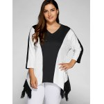 cheap Plus Size Color Splicing Tassel Asymmetric Top