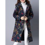 Pockets Ethnic Print Hooded Coat deal