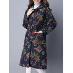 Pockets Ethnic Print Hooded Coat for sale