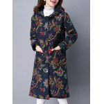 cheap Pockets Ethnic Print Hooded Coat