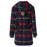 cheap Checked Woolen Coat With Hoodie