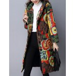 cheap Pockets Ethnic Print Hooded Padded Coat