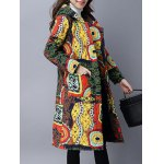 Pockets Ethnic Print Hooded Padded Coat deal