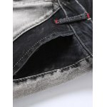 Zipper Fly Low-Slung Crotch Bleach Wash Splicing Jeans photo