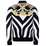 cheap Stand Collar Zebra Stripe Floral Print Jacket