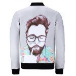 cheap Stand Collar 3D Glasses Men Printed Jacket