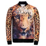 3D Leopard Printed Stand Collar Jacket