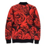 cheap Stand Collar 3D Skull Design Rose Printed Jacket
