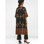 Round Neck Retro Print Duster Coat deal