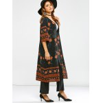 cheap Round Neck Retro Print Duster Coat