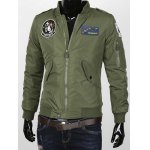 Epaulet Embellished Applique Stand Collar Zip-Up Jacket deal