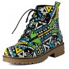 Tie Up Patchwork Flat Heel Ankle Boots deal