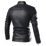 cheap PU-Leather Stand Collar Zip-Up Jacket