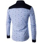 cheap Floral Printed Contrast Insert Button Up Shirt