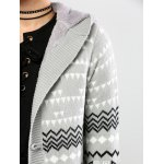 best Horn Button Geometric Pattern Cardigan