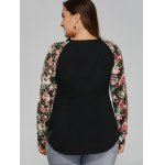 Plus Size Floral Raglan Sleeve T-Shirt for sale