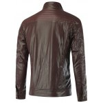 cheap Shirred Stand Collar Zippered Faux Leather Jacket