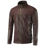 Shirred Stand Collar Zippered Faux Leather Jacket
