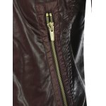 Shirred Stand Collar Zippered Faux Leather Jacket deal