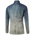 cheap Stand Collar Pockets Front Button Up Ombre Jacket
