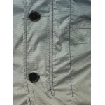 Stand Collar Pockets Front Button Up Ombre Jacket deal