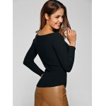 best Ribbed Boat Neck Stretchy Knitwear