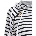 Inclined Zipper Striped Hoodie deal