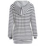 cheap Inclined Zipper Striped Hoodie