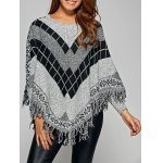 Fringed Loose-Fitting Plaid Sweater