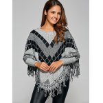 cheap Fringed Loose-Fitting Plaid Sweater