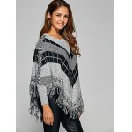 Fringed Loose-Fitting Plaid Sweater deal