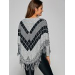 Fringed Loose-Fitting Plaid Sweater for sale