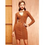 cheap Knitted Buttoned Tied-Up Bodycon Dress