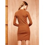 Knitted Buttoned Tied-Up Bodycon Dress for sale