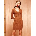 Knitted Buttoned Tied-Up Bodycon Dress deal