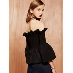 Bell Sleeves Ruffled Shirred Blouse deal