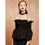 cheap Bell Sleeves Ruffled Shirred Blouse