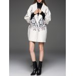 Butterfly Pattern Shawl Collar Cocoon Coat deal