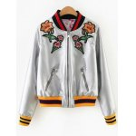 Floral Embroidered PU Leather Jacket