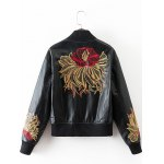 cheap PU Souvenir Jacket with Flower Embroidery