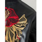 PU Souvenir Jacket with Flower Embroidery deal