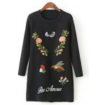 Long Sleeve Sweater Dress with Embroidery