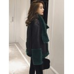 PU Leather Faux Fur Decorated Coat deal