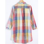 cheap Plus Size Checked Long Sleeve Shirt Dress