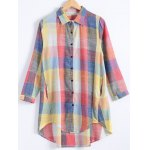 Plus Size Button Up Checked Shirt Dress