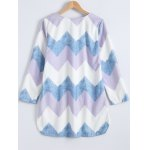 cheap Colorful Zigzag Front Pockets Embellished Dress