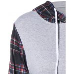Plaid Pocket Embellished String Hoodie deal