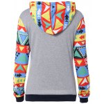 cheap Colorful Geometric Print Pocket Embellished String Hoodie