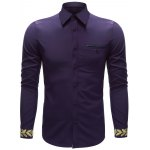 Embroidered Cuff Breast Pocket Button Up Shirt