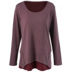 best Plus Size Zipper Embellished Layered Pullover